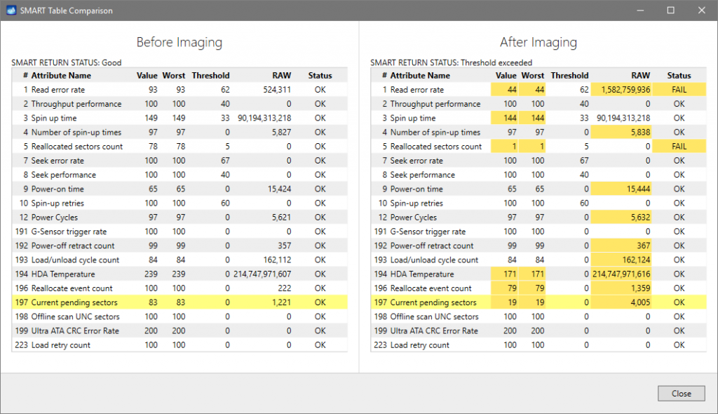 How SMART table state changed after image acquisition